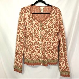 Sundance Peach & Cream Knit Button Front Cardigan